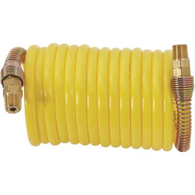 Milton ReKoil 1/4 In. x 12 Ft. Nylon Air Hose with 1/4 In. MNPT Swivel Fittings