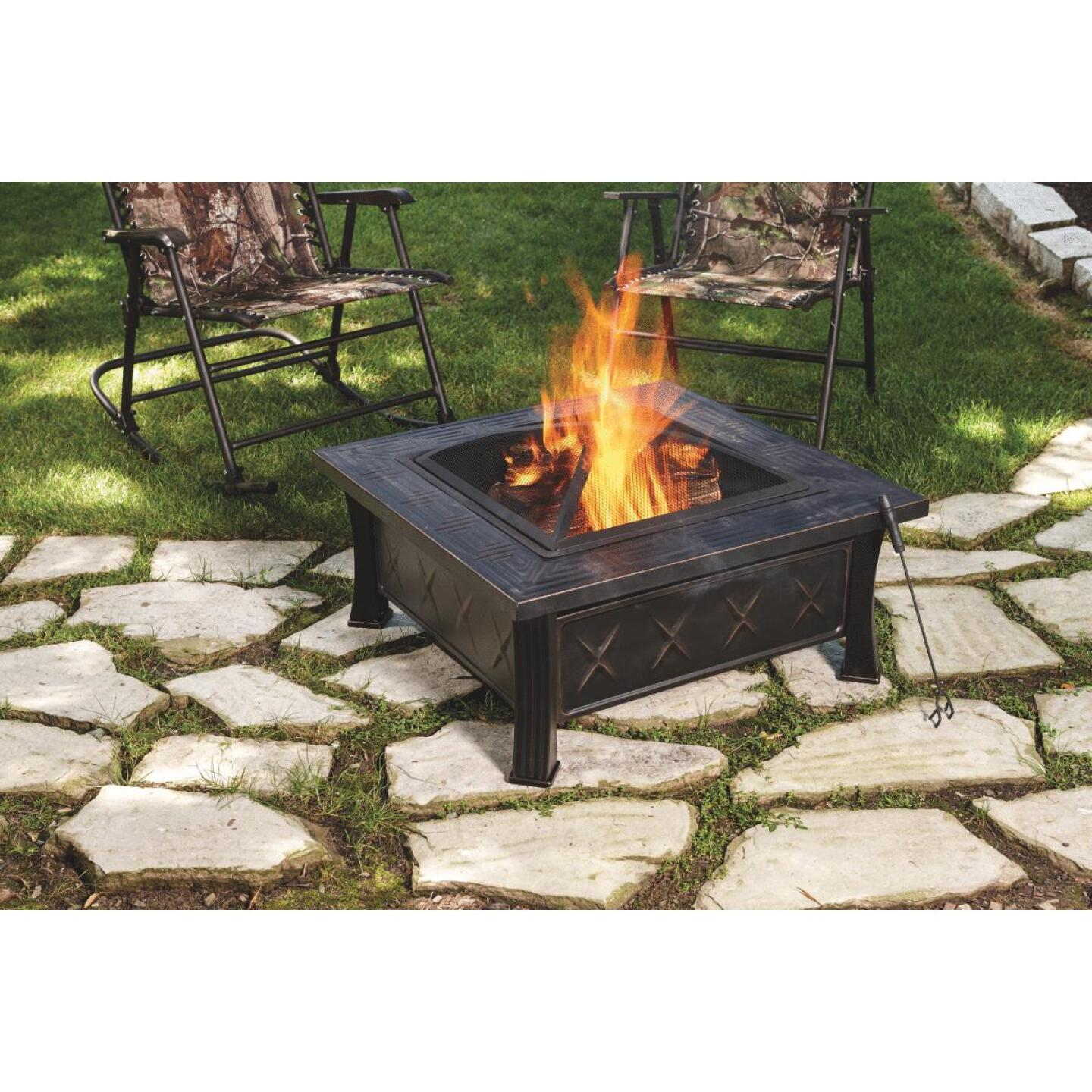 Outdoor Expressions 32 In. Antique Bronze Square Fire Pit Image 3
