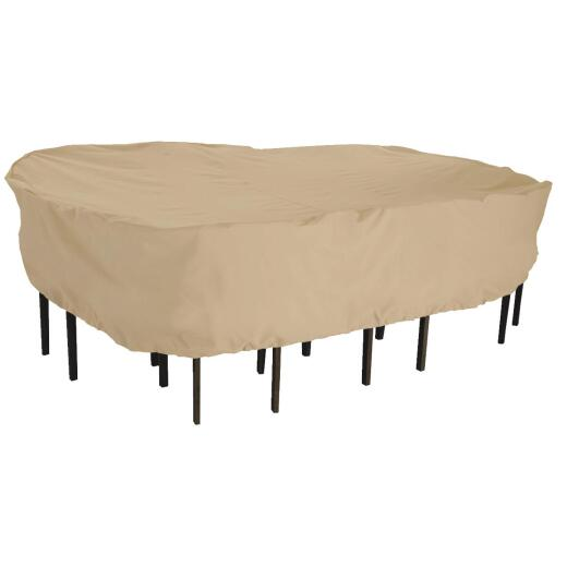 Classic Accessories 82 In. W. x 23 In. H. x 108 In. L. Tan Poly/PVC Table Cover