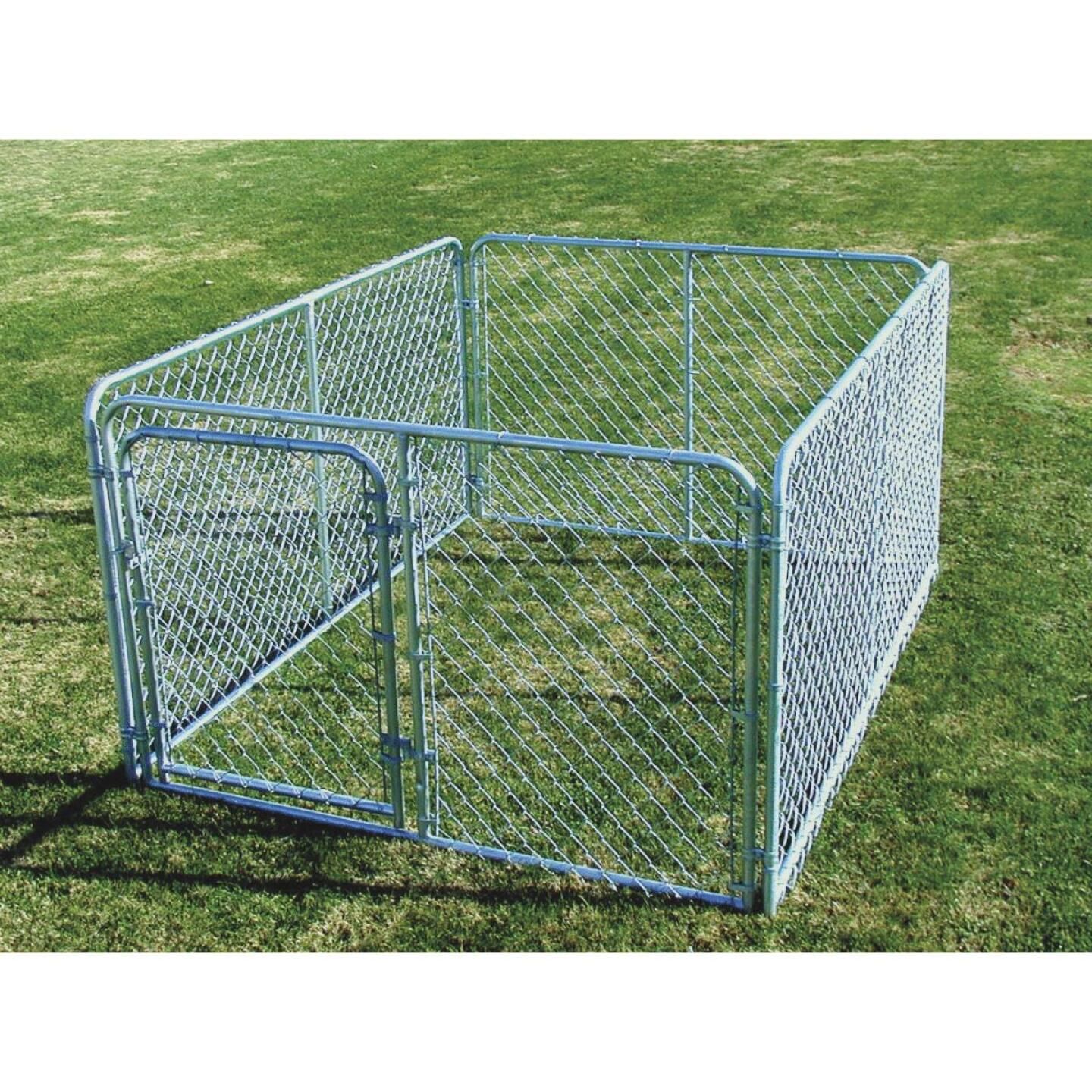 Fence Master Silver Series 6 Ft. W. x 4 Ft. H. x 8 Ft. L. Steel Outdoor Pet Kennel Image 1